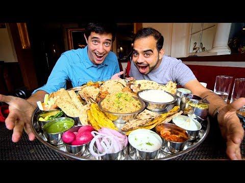 "Foreigner eats Modi Ji Ki 56"" Thali + INDIAN STREET FOOD in Delhi, India | BIGGEST Thali in Delhi"