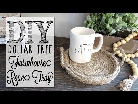DIY Farmhouse Rope Tray    Dollar Tree Hack