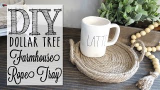 DIY Farmhouse Rope Tray |  Dollar Tree Hack