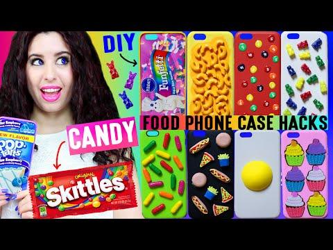 10 DIY Candy & Food Phone Case Hacks | Decorate iPhone Cases w/ Skittles, Gummy Bears, Mac-N-Cheese!