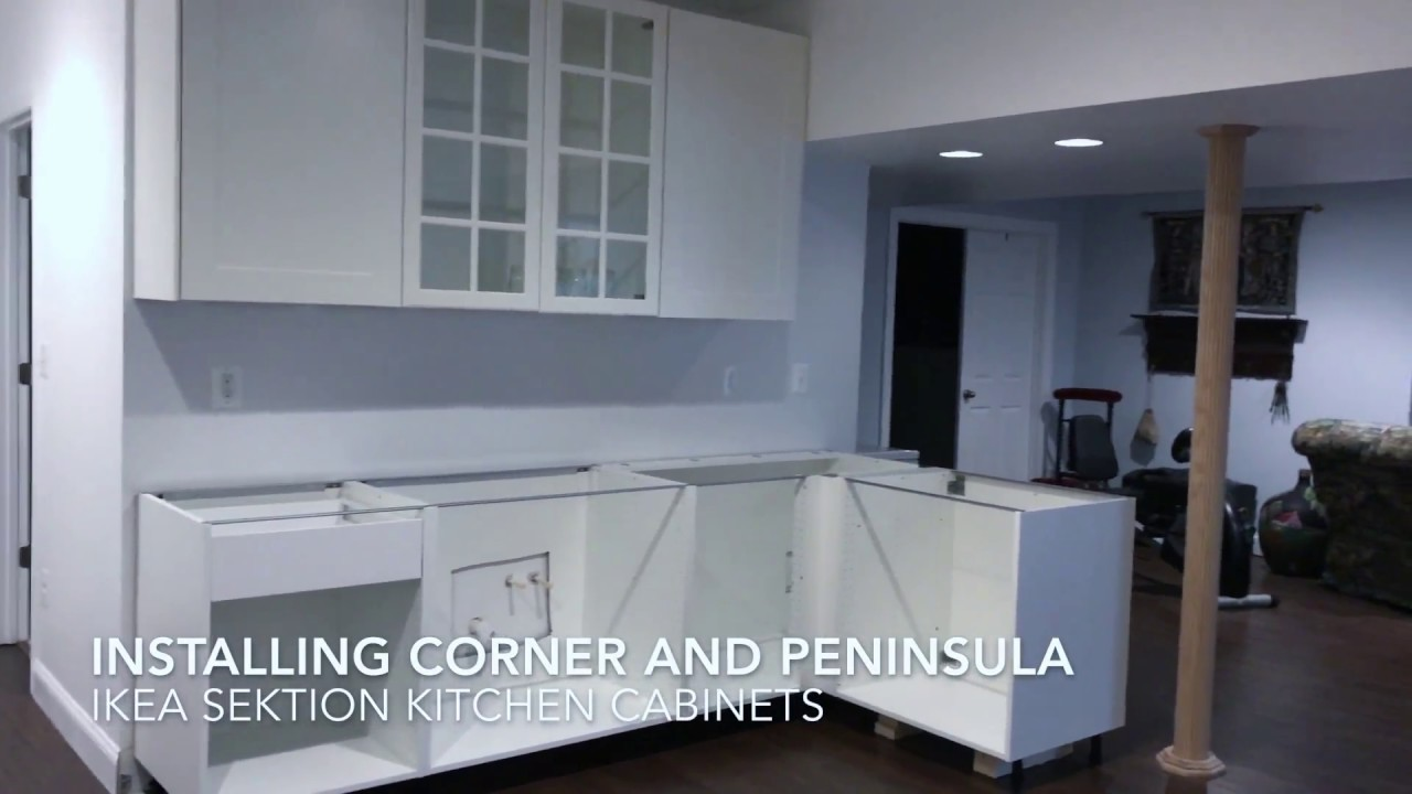 Installing ikea sektion cabinets corner peninsula youtube for Ikea sektion kitchen cabinets