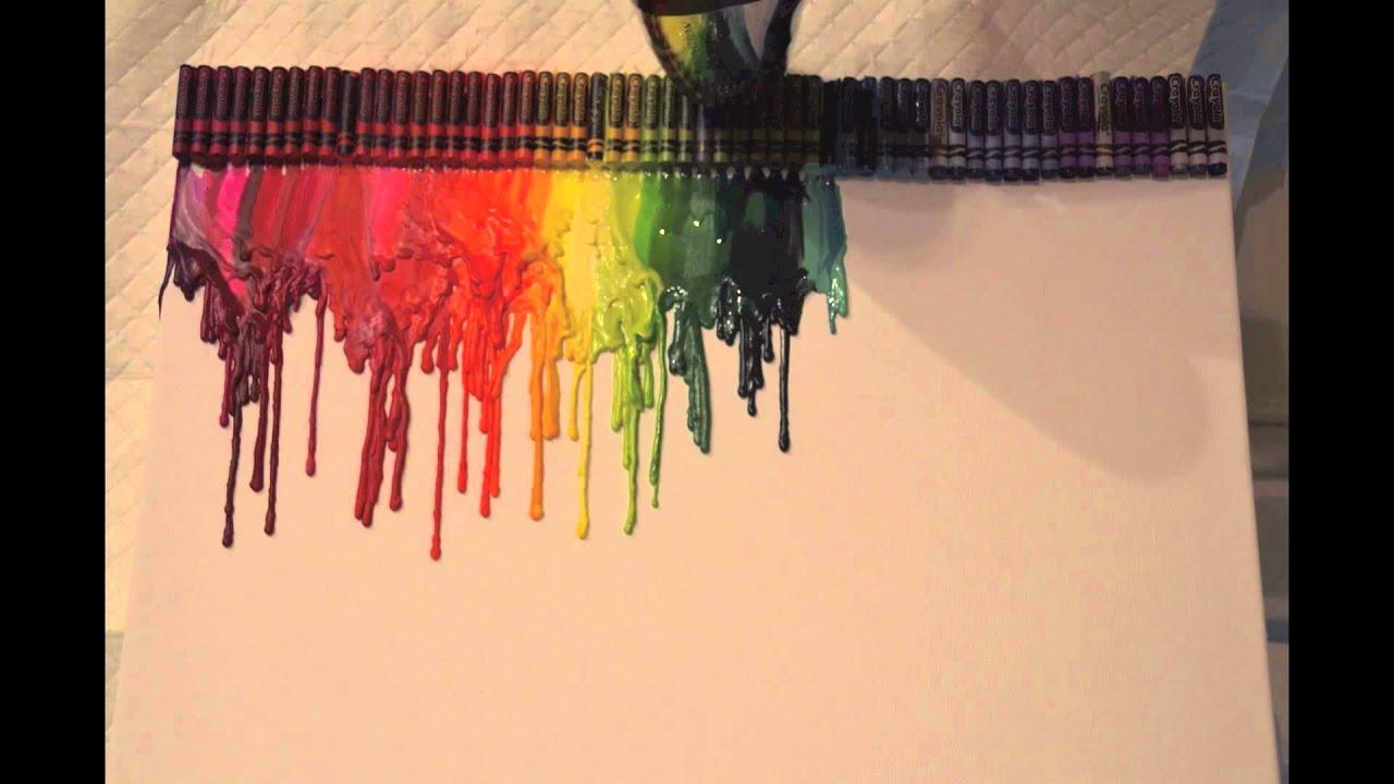 rainbow crayon melting art project time lapse youtube