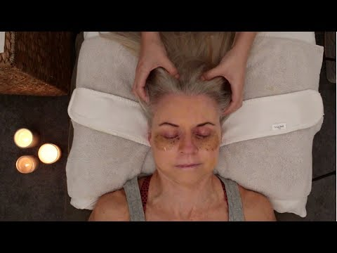 ASMR facial, scalp massage, and cupping for deep sleep and relaxation (whispering)