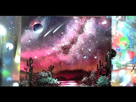 How to spray paint milky way galaxy waterfall trees for How to paint galaxy