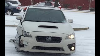 2015 subaru WRX crash trying to snow drift