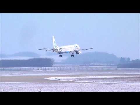 Landing E195 FlyBe Grenoble Isère Airport LFLS