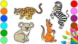 Рисуем животных | Названия Животных | Раскраски для самых маленьких