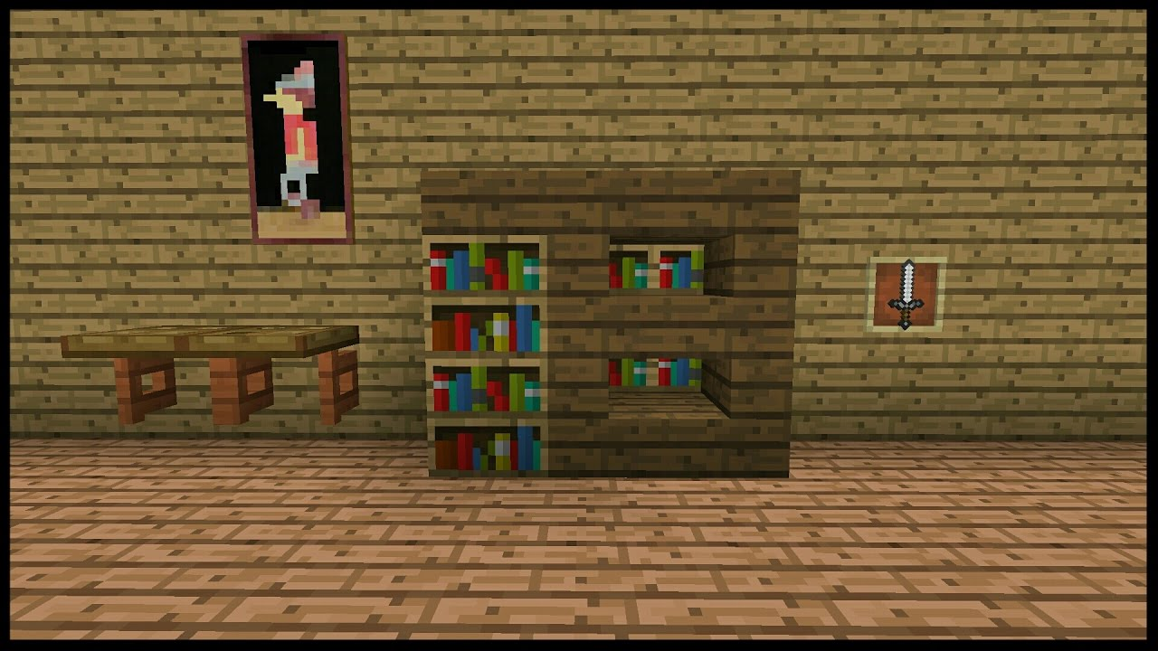 Minecraft Pocket Edition How To Build A Modern Bookshelf