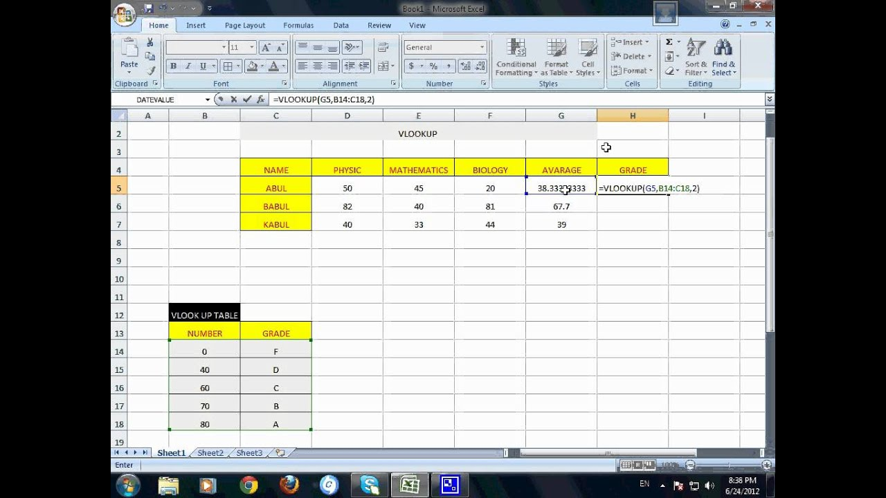 how to create vlookup in excel 2007