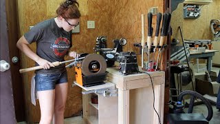 Repeat youtube video Lathe Stand With Pull Out Grinder