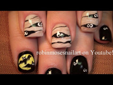 Mummy Halloween Nail Art | Easy Bat Nails Design Tutorial ...