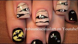 2 Halloween Nail Art Tutorials   Diy Mummy & Bats Nail Design