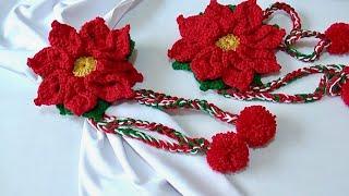 Sujeta Cortinas  Flor de Nochebuena Tejido a crochet paso a paso