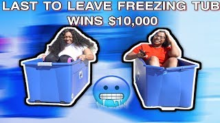 Last To Leave *FREEZING* COLD ICE BATH Wins $10,000 - Challenge