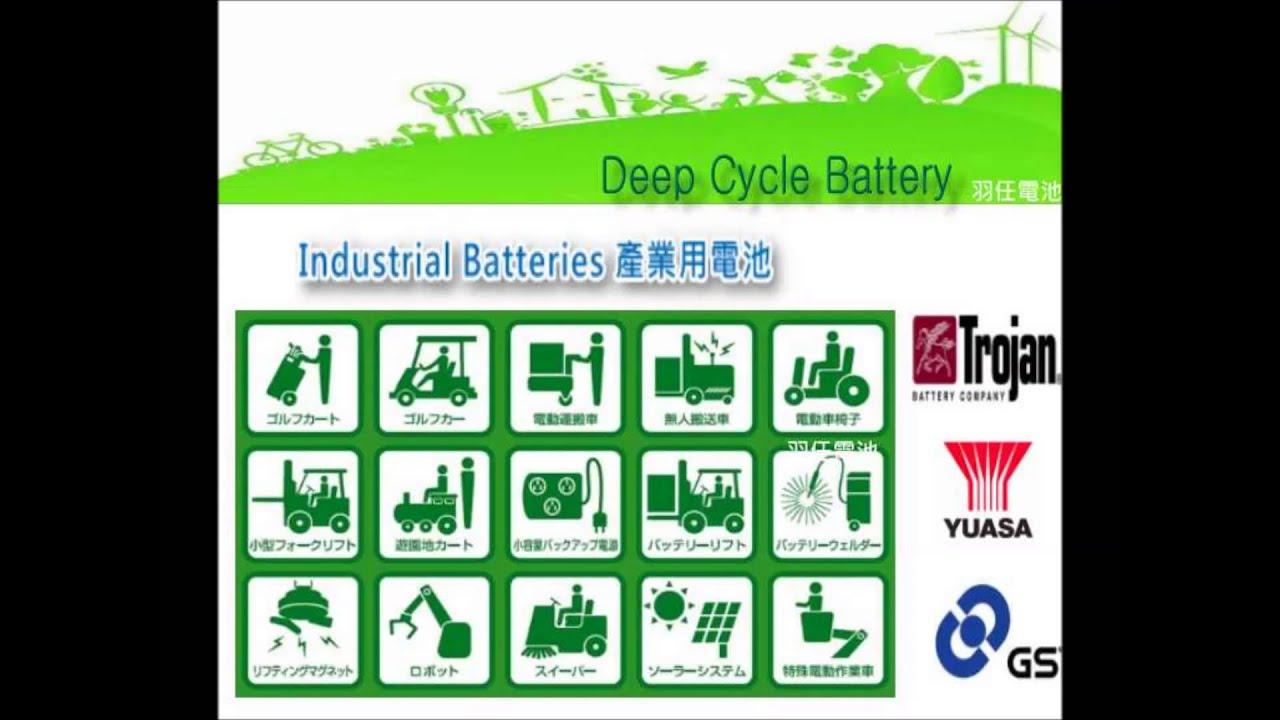 深循環電瓶 經銷代理商0422878998 TROJAN電池 GS YUASA 堆高機 洗地機 高空作業車 太陽能 專用電池 - YouTube