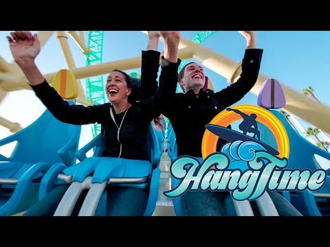 Riding HangTime! AWESOME New Roller Coaster at Knott's Berry Farm! Day & Night View!