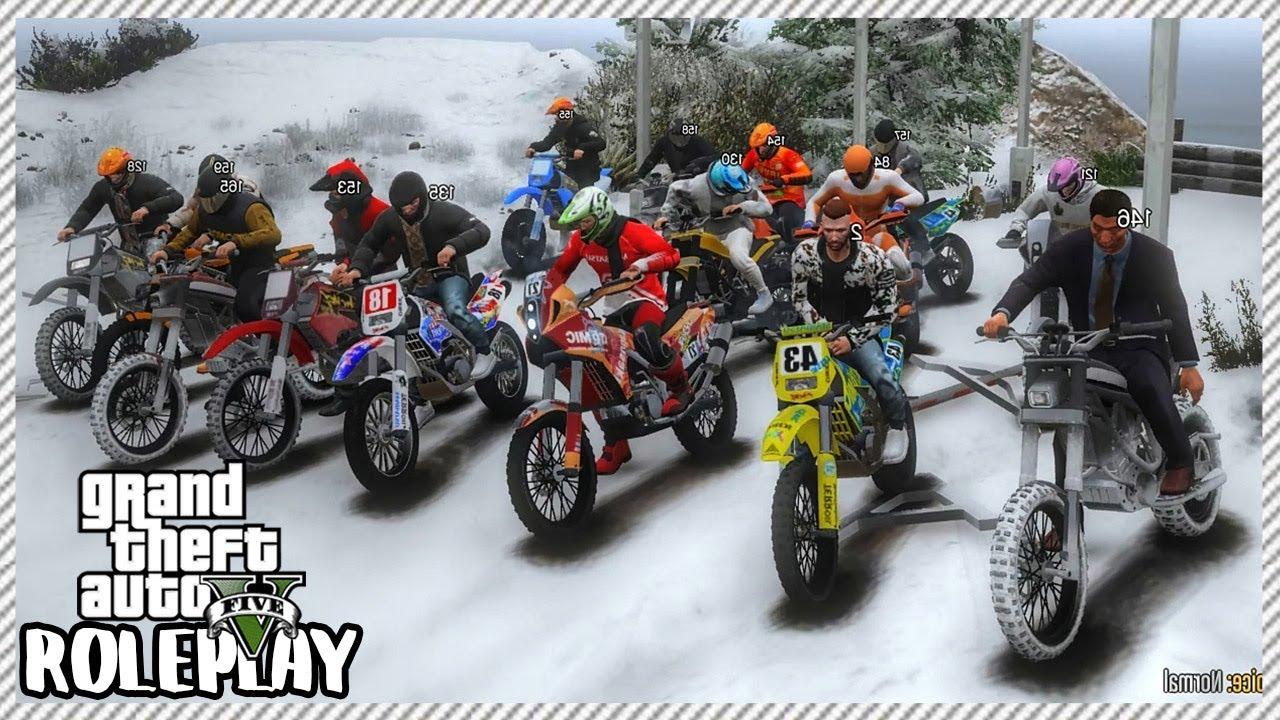 Gta 5 Roleplay Huge Dirt Bike Meet Snow Day Trail Riding