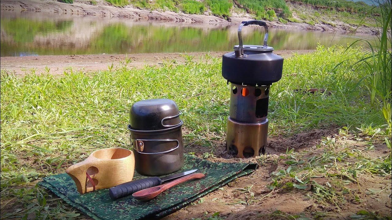 Поход выходного дня. Обед у реки на печке щепочнице.