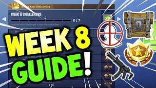FORTNITE WEEK 8 ALL CHALLENGES EASY GUIDE SEASON , Search between a Bear, Crater, and a Refrigerator