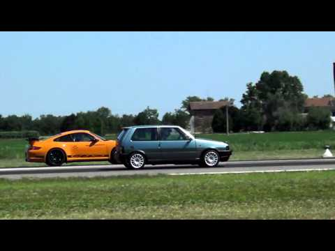 drage race:Fiat uno turbo VS Porsche GT3 RS