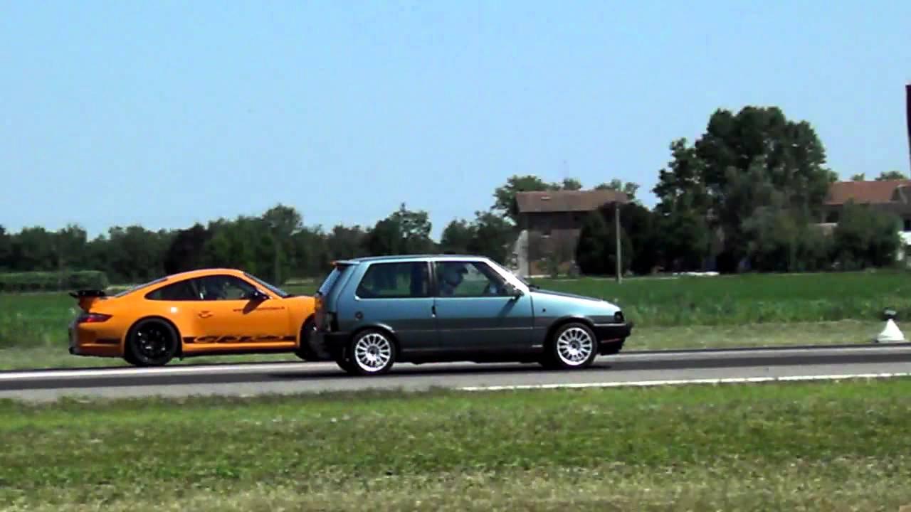 drage race:fiat uno turbo vs porsche gt3 rs - youtube