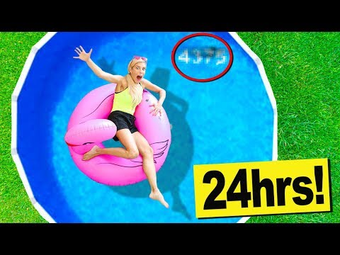 24 Hours in a Swimming Pool in my Backyard! (Hidden Secret C