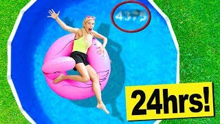 Gambar cover 24 Hours in a Swimming Pool in my Backyard! (Hidden Secret Code Found in Water)