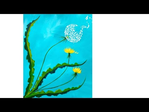 Beginner How to paint  Dandelion Acrylic  Spring Floral Tutorial