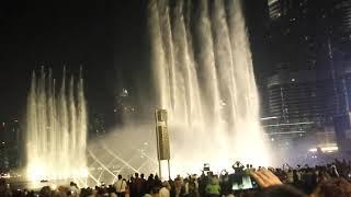 dubai musical waterfall / musical fountain show
