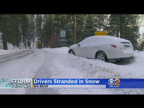 Snow Leaves Hundreds Of Cars Stuck On Highway 38 Near Big Bear