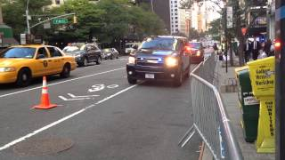 NYPD & UNITED STATES SECRET SERVICE ESCORT MOTORCADE DURING UNITED NATIONS GENERAL ASSEMBLY.