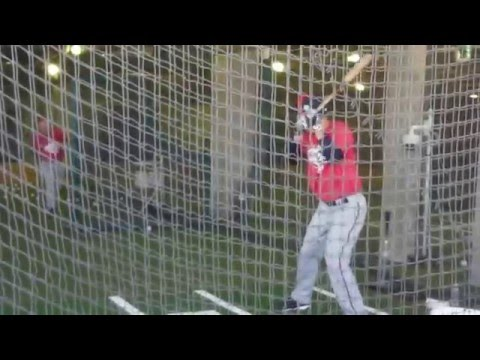 Twins Joe Mauer hitting in the cage 2/27/16