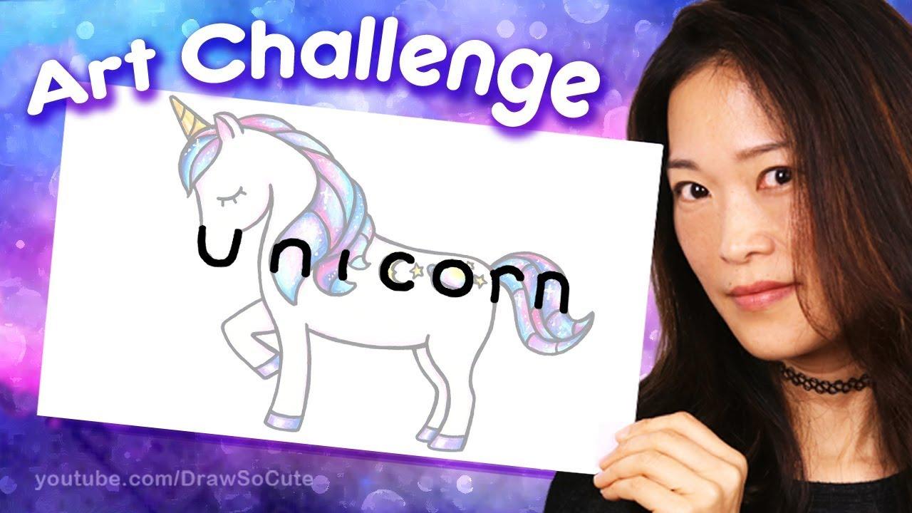 How To Turn The Word Unicorn Into A Cartoon Fun Art Challenge