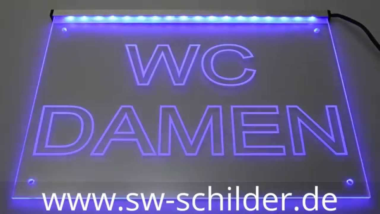 led wc damen schild gravur mit led beleuchtung sw schilder. Black Bedroom Furniture Sets. Home Design Ideas