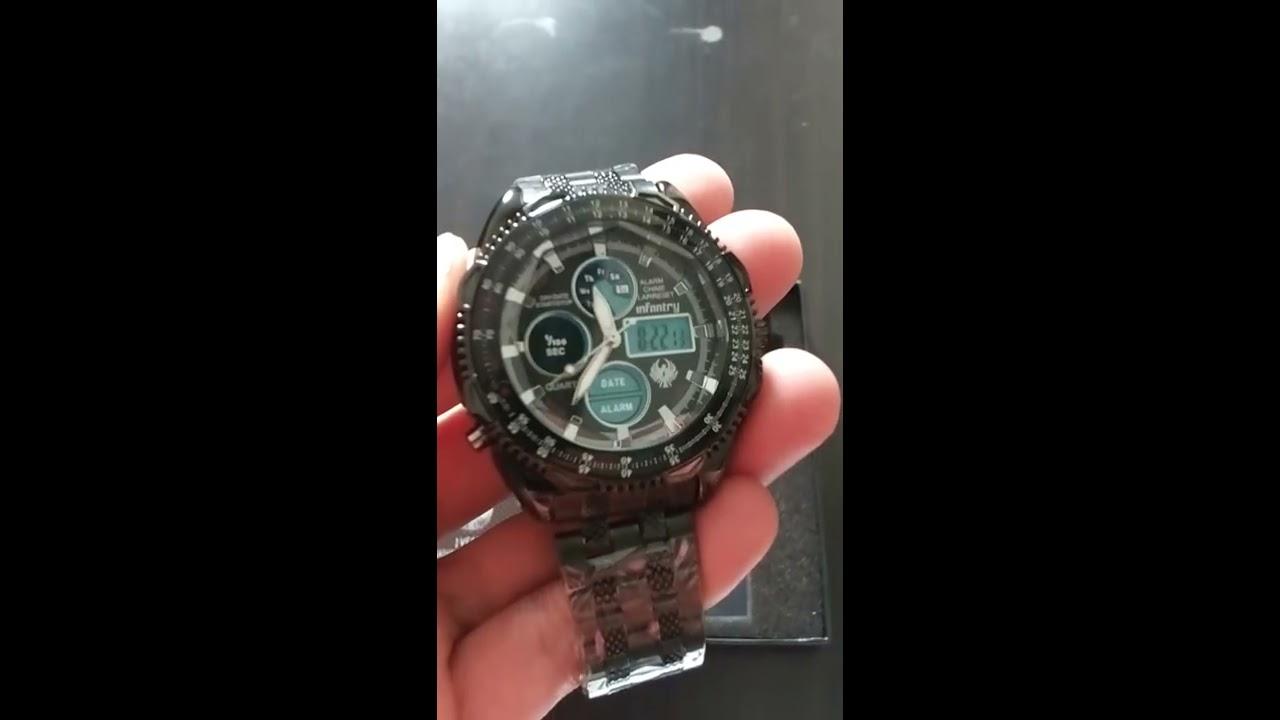b056bb1f0123 INFANTRY Mens LCD Digital Quartz Wrist Watch Sport Aviator Black Stainless  Steel