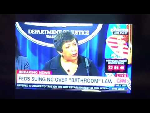 Loretta Lynch DOJ Sues North Carolina Over Bathroom Law
