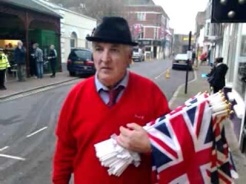 Royal visit to Margate: Dick Bird selling Union Jacks