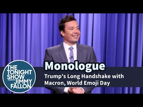 Thumbnail: Trump's Long Handshake with Macron, World Emoji Day - Monologue