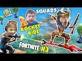 FORTNITE #3! FGTEEV Down with the Pew SQUAD + Funny Moments, Traps, Rocket Ride, Battle Royal Dances