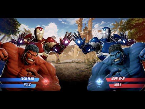 Red Hulk And Iron Man Vs Blue Hulk And Iron Man - MARVEL VS. CAPCOM: INFINITE
