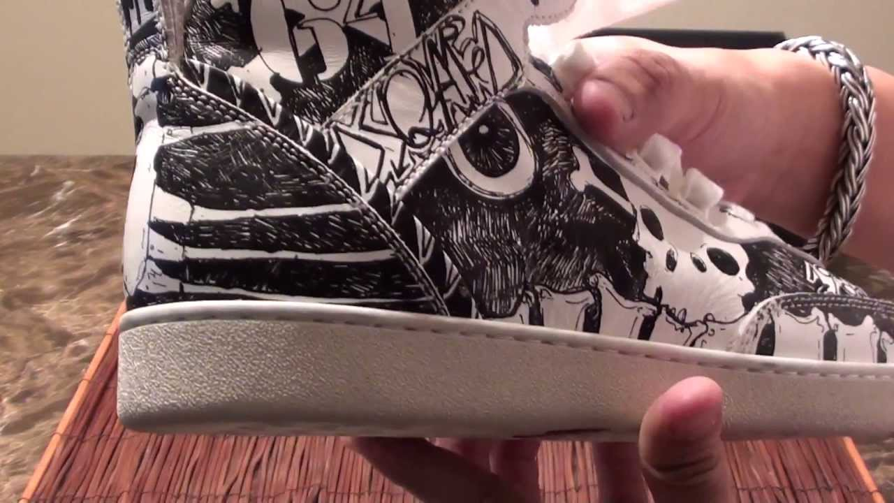 8417cca2662 DSquared2 Designer Exclusive Limited White Black Skull Bones Leather Hi-Top  Sneakers (Shoes) - YouTube