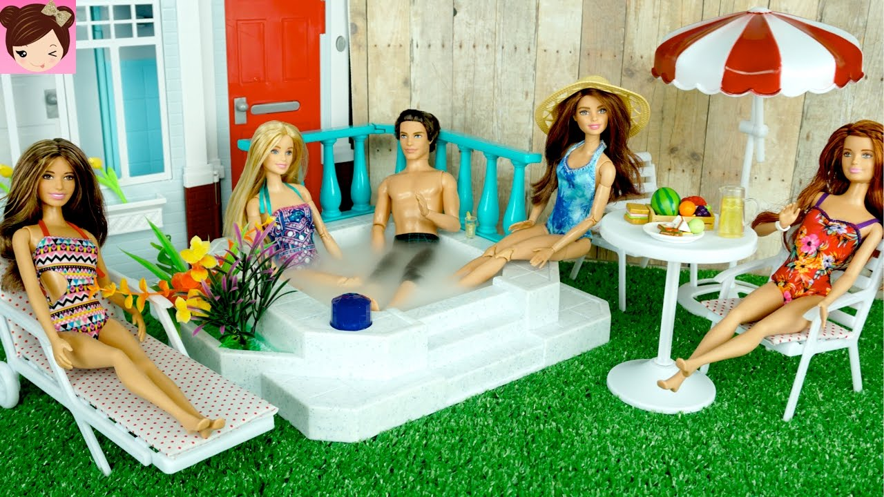 Barbie Badezimmer Set Barbie Doll Jacuzzi Hot Tub Playset Barbie Has A Party In Her New Backyard Titi Toys By Titi Toys And Dolls