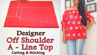 Designer Off Shoulder A Line Top with Knot Sleeves Cutting and Stitching | Latest Top Design