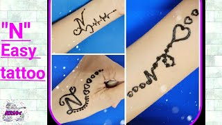 "Beautiful N letter mehndi tattoo | latest ""N"" alphabet mehndi tattoo 