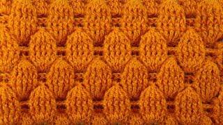 ЧУДЕСА! Узор для свитера с ПУПЫРЫШКАМИ   узоры крючком 103