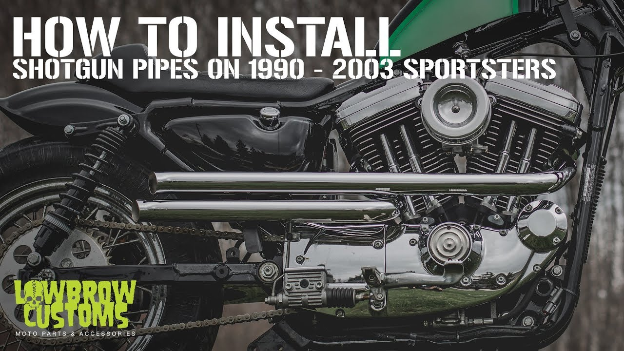 lowbrow customs shotgun pipes how to install 1990 2003 sportsters