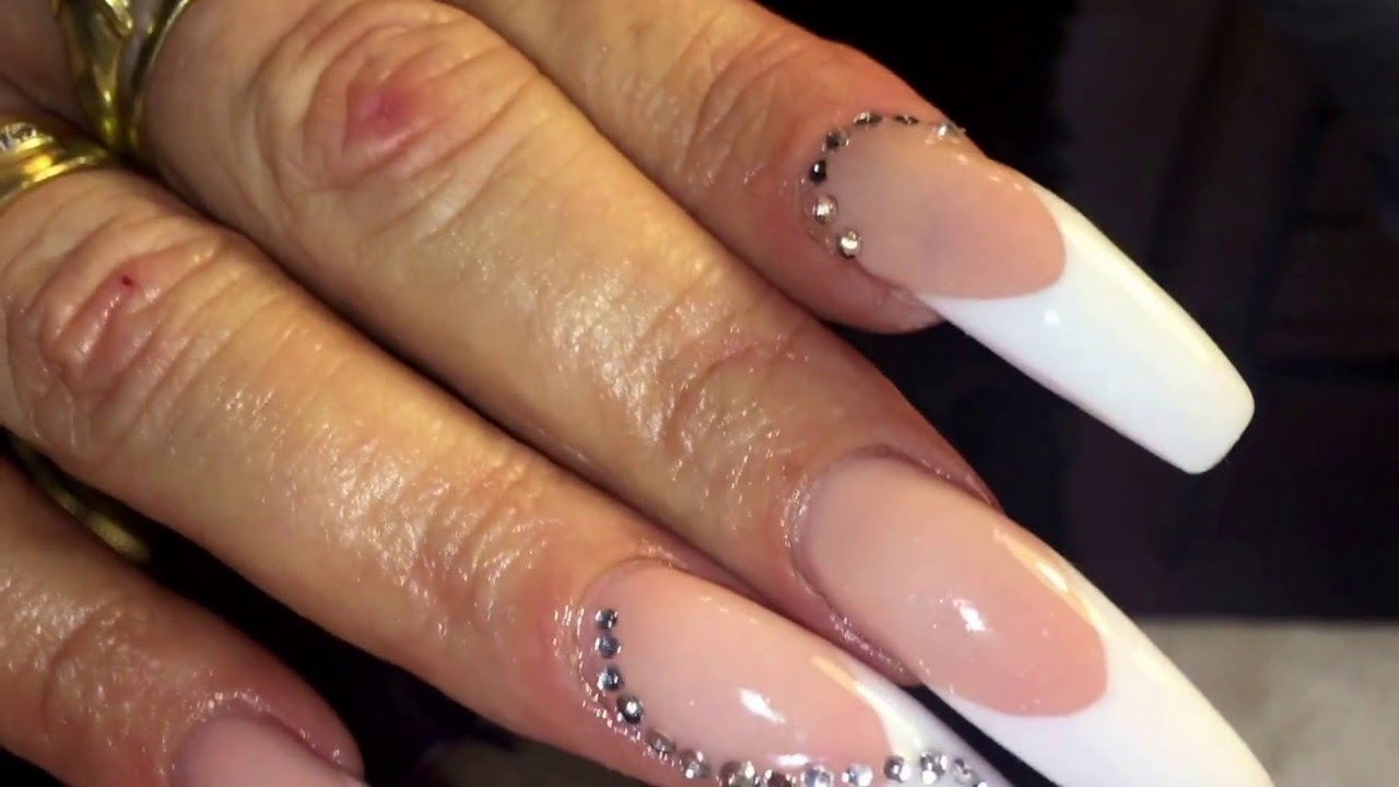 Acrylic Stiletto Nails Using Young Products Infill Grow Out 8 Weeks