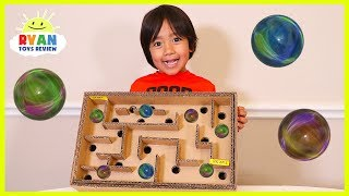 DIY Homemade Marble Labyrinth Maze Board Game from cardboard thumbnail