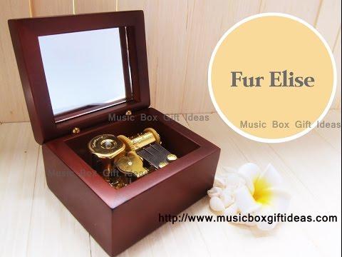Wooden Windup Japanese Sankyo 18Note Music Box Fur Elise