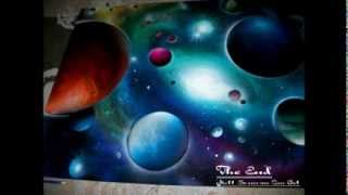 spray paint art open your eyes by matt sorensen universe art made with fire